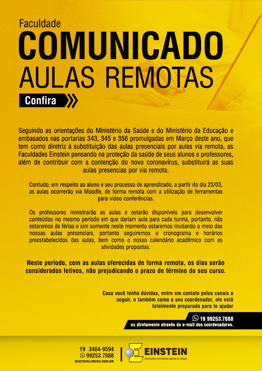 Comunicado Aulas Remotas