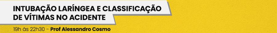 Intubação Laríngea e Classificação de vítimas no acidente; 19h às 22h30, Prof. Alessandro Cosmo